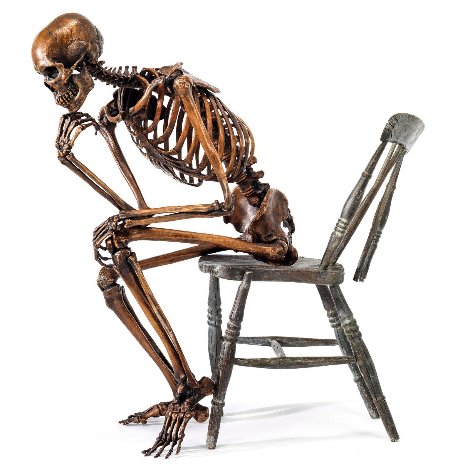 bronze skeleton thinker life size