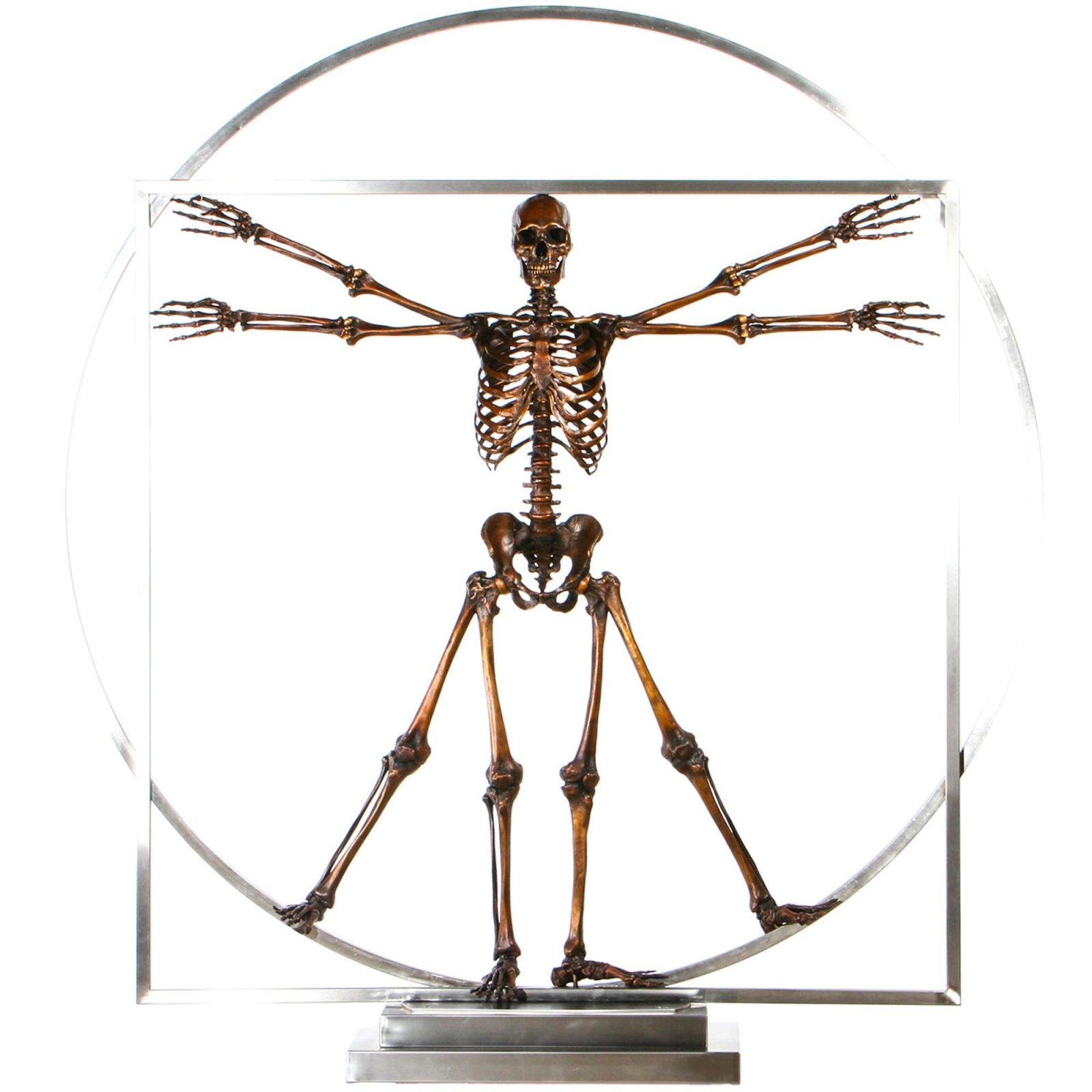 Da Vinci Vitruvian man bronze skeleton