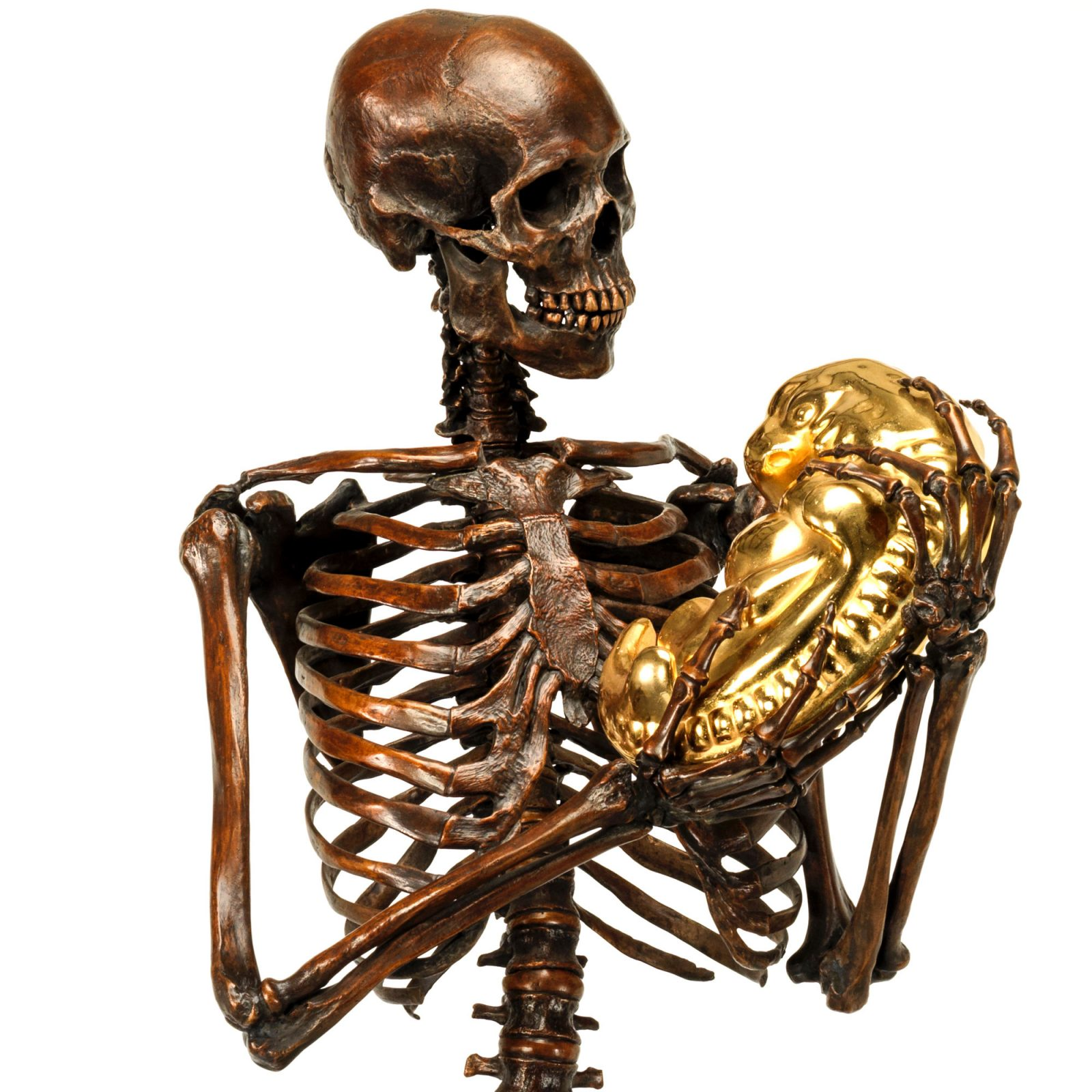 bronze skeleton with embryo