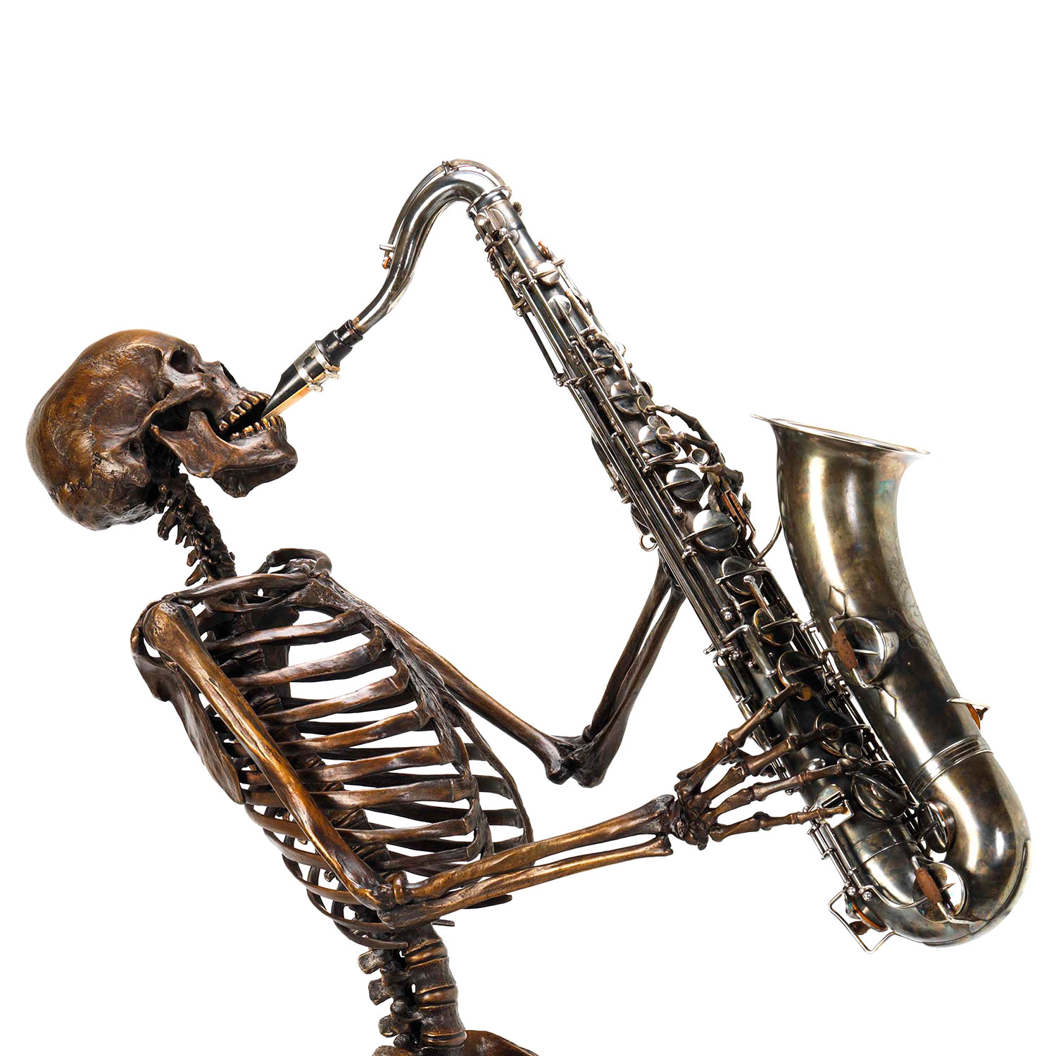 life size bronze fine art perfect investment skeleton sax player