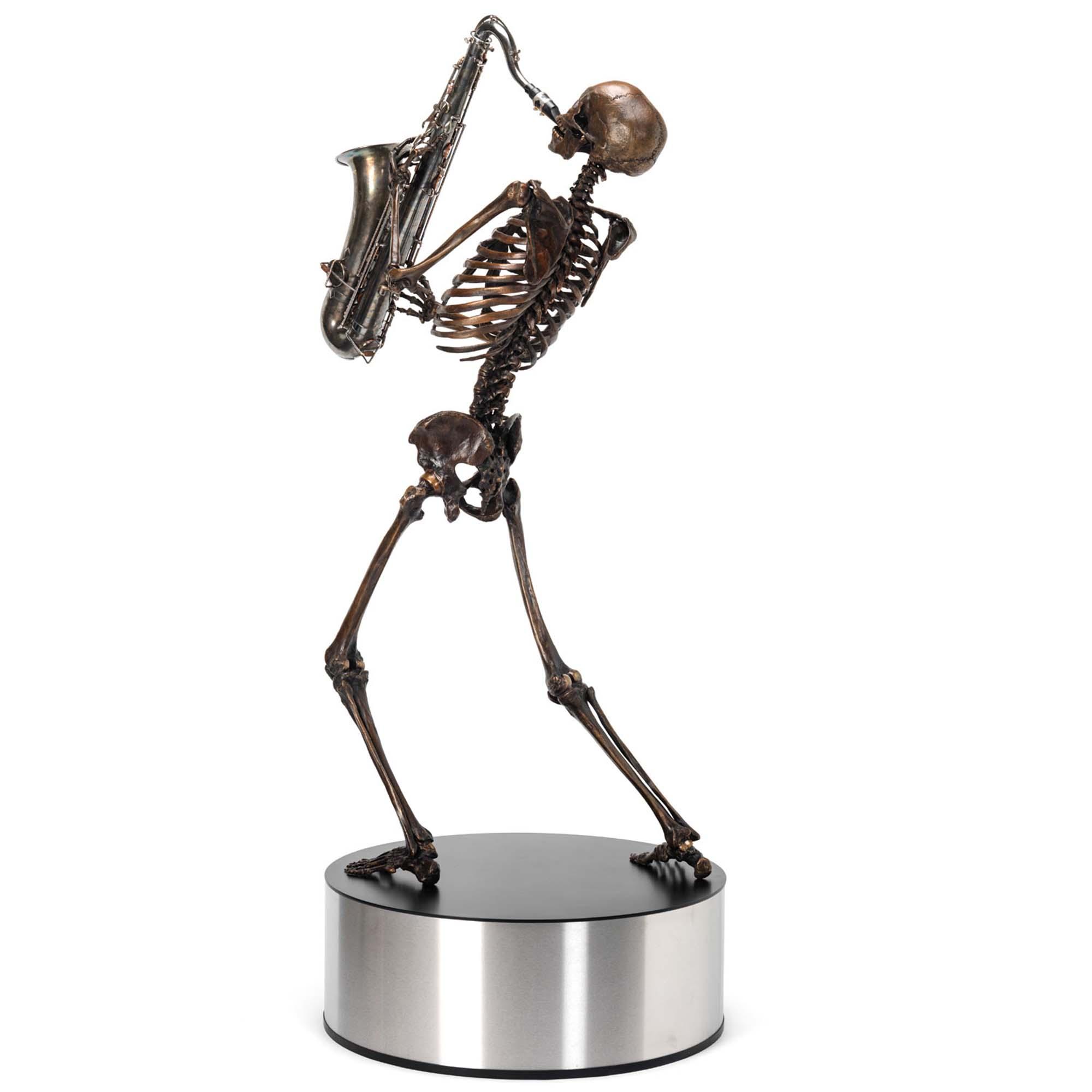 bronze skeleton sax player