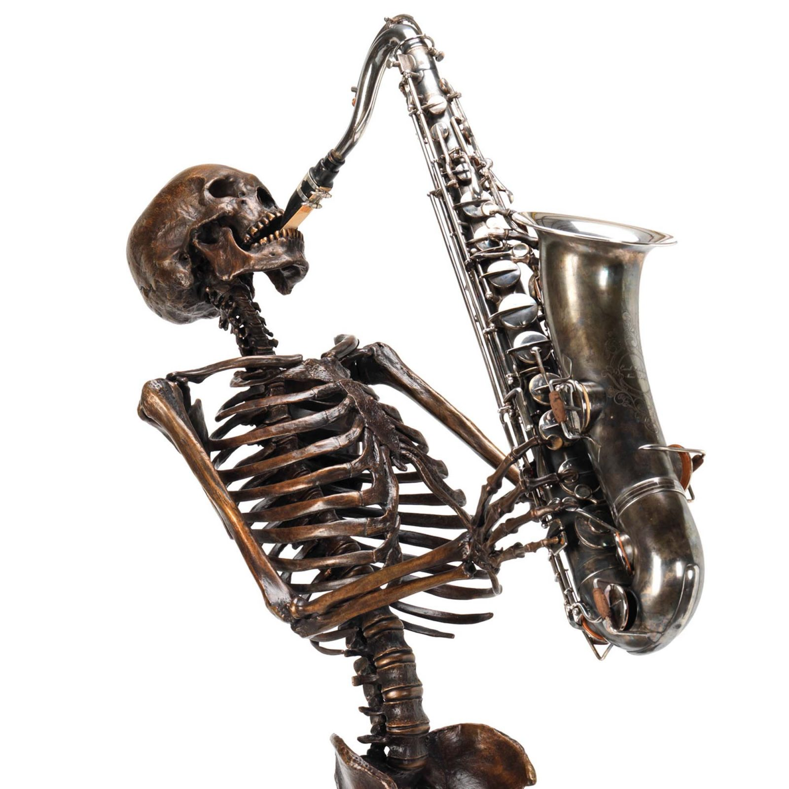 bronze skeleton sax player