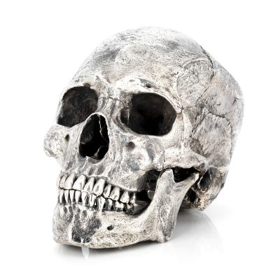 life size bronze human skull silver plated museum grade