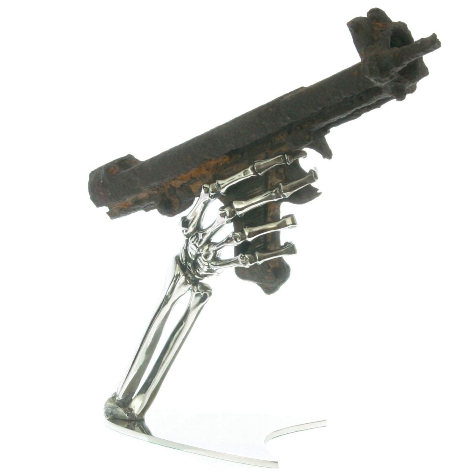 skelton hand gun sculpture with battlefield relic