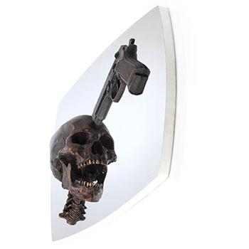 bronze human skull fine art sculpture