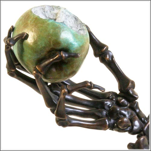 fine art bronze skulls, hands and skeletons