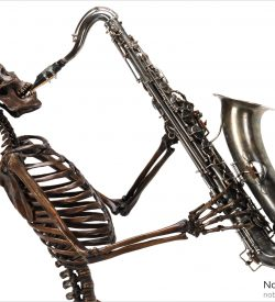 NoBody likes a fit of the blues life size bronze skeleton playing buffet 1917 tenor saxophone