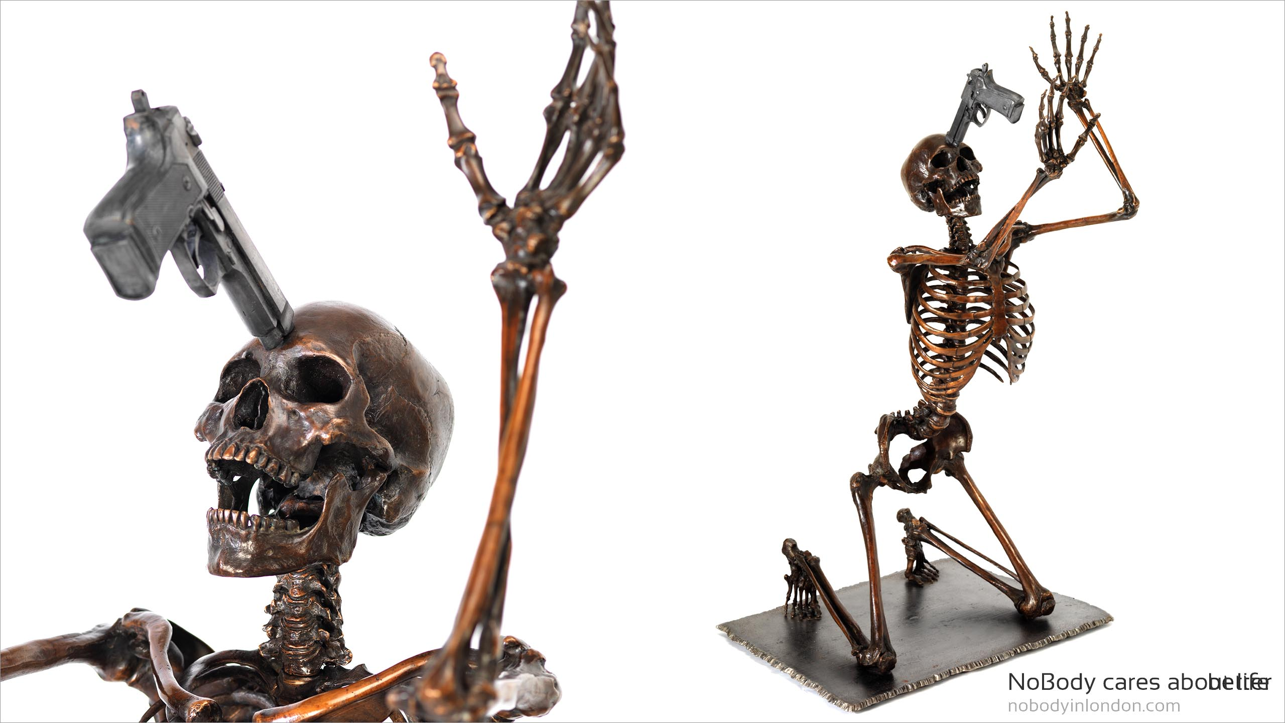NoBody cares about life, life size fine art bronze skeleton sculpture featuring a gun to its head