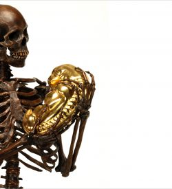 NoBody's perfect life size bronze skeleton with gold plated fetus