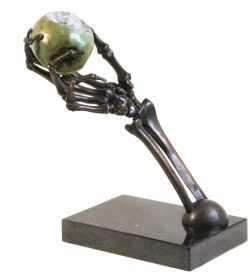 skeleton fine art bronze hand with apple
